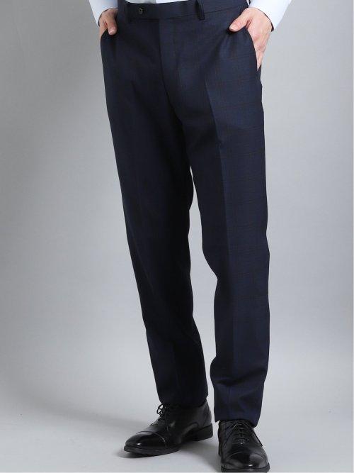 光沢ストレッチ スリムフィット2ボタン3ピーススーツ チェック 紺