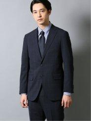 ストレッチウォッシャブル レギュラーフィット2ボタン2パンツスーツ チェック紺