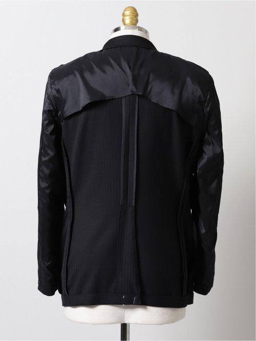 光沢ウール混ストライプ柄 スリムフィット2ボタン2ピーススーツ 黒