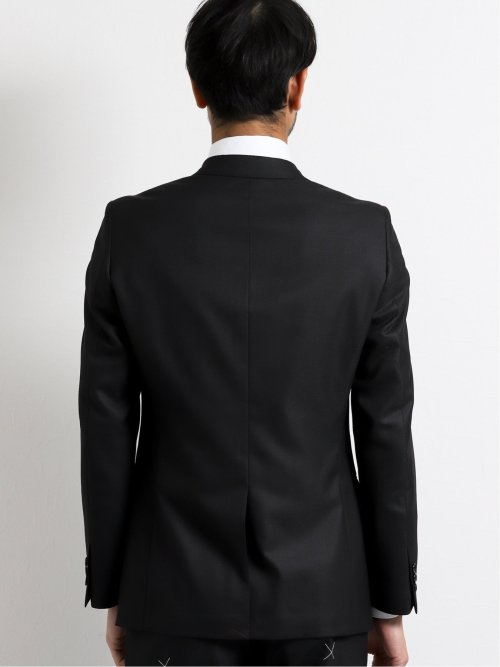 ウエストマジック 光沢ウール混 スリムフィット2釦2ピーススーツ マイクロチェック黒