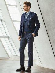 ウエストマジック 光沢ウール混 スリムフィット2釦3ピーススーツ ウィンドペン青