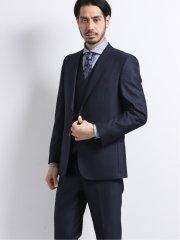 ウエストマジック 光沢ウール混 スリムフィット2釦3ピーススーツ ジオメトリック紺