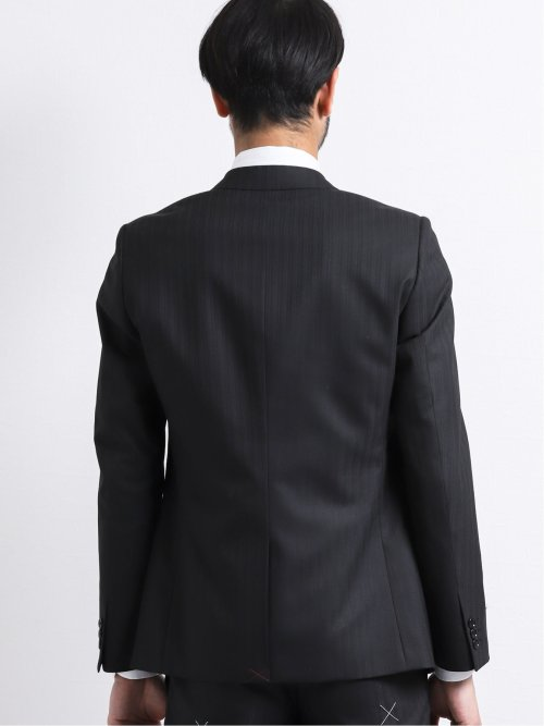 ウエストマジック 光沢ウール混 スリムフィット2釦3ピーススーツ シャドーストライプ黒