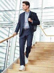 トラベスト/TRABEST コーディネート2パンツ レギュラーフィット2釦スーツ 紺デニムルック