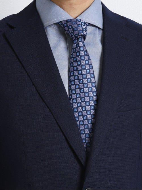 ウール混メッシュ レギュラーフィット2釦コーディネート2パンツスーツ 紺無地