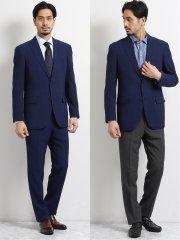 トラベスト/TRABEST コーディネート2パンツ レギュラーフィット2釦スーツ 紺ウィンドペン