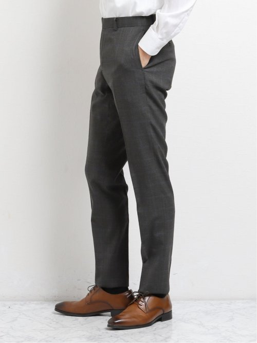 ウール混レギュラーフィット2ボタン2パンツスーツ グレーウィンドペン