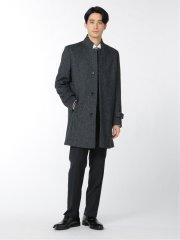 ウール混 変形チェスターコート 紺
