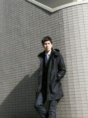ライナー付きボンディング スタンドカラーフーデッドコート オックス黒