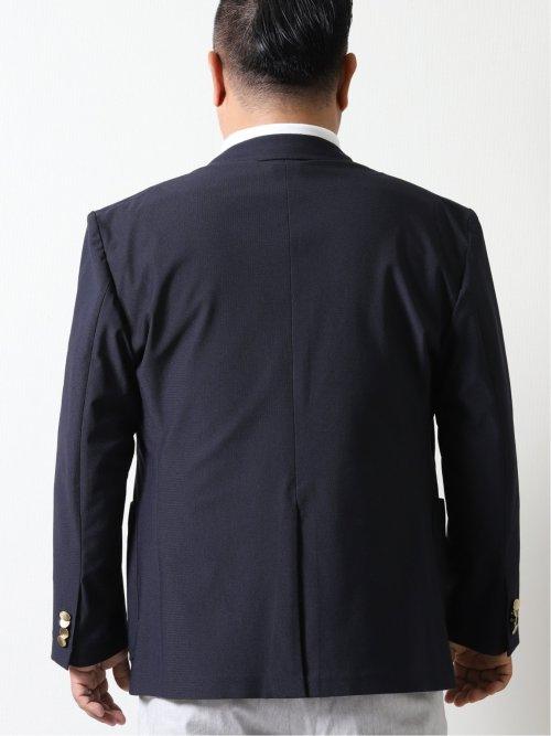 【大きいサイズ】グランバック/GRAND-BACK ストレッチ ブリーズクール2ボタンジャケット 無地紺
