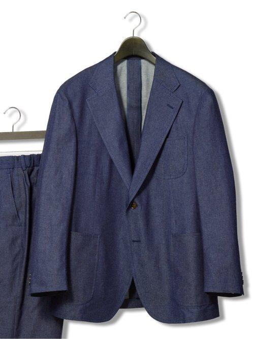【大きいサイズ】グランバック/GRAND-BACK ストレッチデニムライク 2ボタンセットアップジャケット
