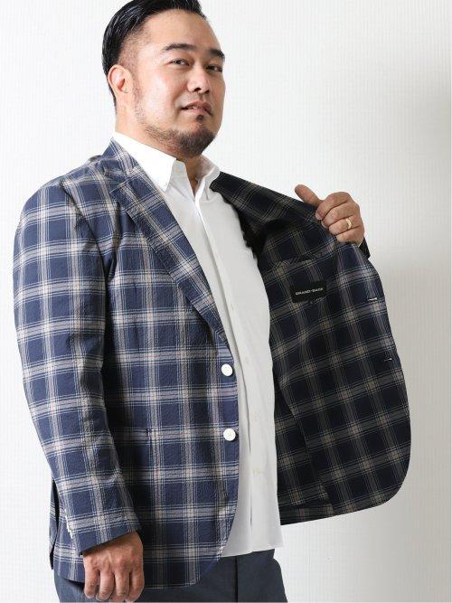 【大きいサイズ】グランバック/GRAND-BACK ストレッチ チェック柄2ボタンジャケット
