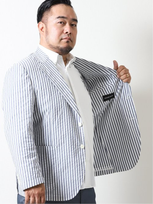 【大きいサイズ】グランバック/GRAND-BACK ストレッチ ロンスト柄2ボタンジャケット