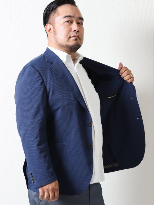 【大きいサイズ】グランバック/GRAND-BACK ドットエア ストレッチ 2ボタンセットアップジャケット