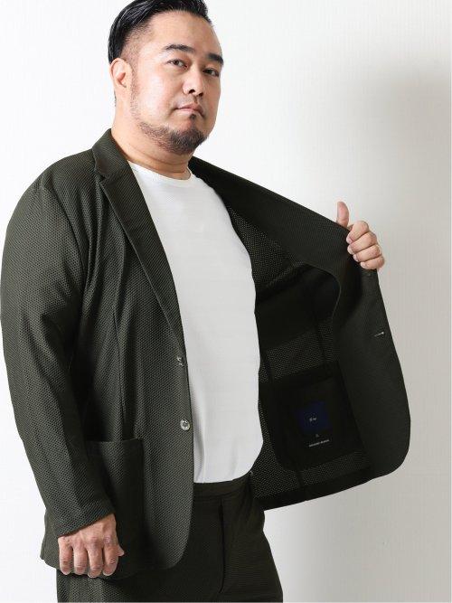 【大きいサイズ】ジーステージ/G-stage ストレッチハニカム 2ボタンセットアップジャケット