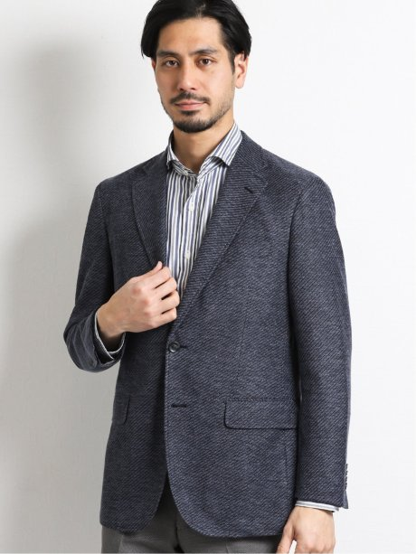 リネン混ニット2釦テーラードジャケット