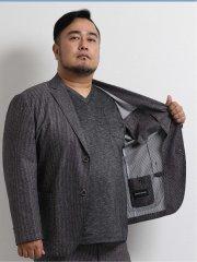 【大きいサイズ】グランバック/GRAND-BACK ライトウェーブ セットアップ2釦ジャケット