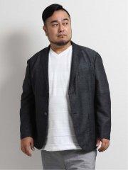 【大きいサイズ】グランバック/GRAND-BACK カラミ織ストレッチ2釦テーラードジャケット