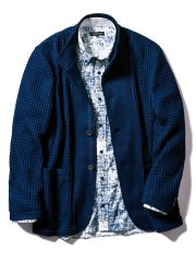 【大きいサイズ】グランバック/GRAND-BACK オニワッフル2釦シングルスタンドジャケット