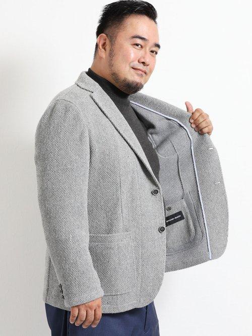 【大きいサイズ】グランバック/GRAND-BACK ウール混ラッセル2釦テーラージャケット