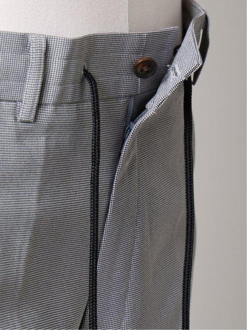 【大きいサイズ】グランバック/GRAND-BACK ストレッチ千鳥柄 ノータックスラックス 白×黒