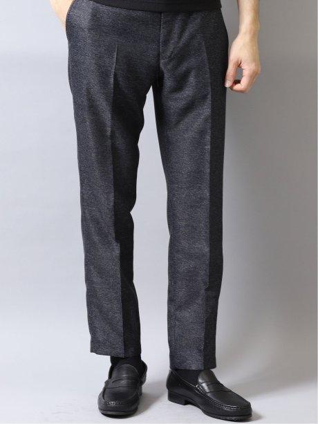 カラミ織りストレッチ スリムフィットセットアップパンツ 紺