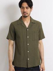綿麻ドビーストライプ オープンカラー半袖シャツ