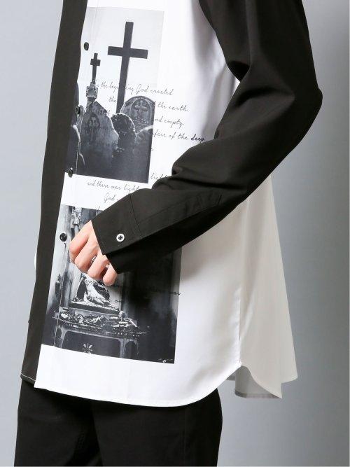 転写配色プリント 長袖BIGシャツ