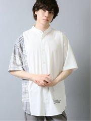切替バンドカラー 半袖BIGシャツ