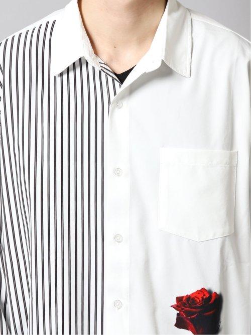 ローズ転写プリント 長袖BIGシャツ