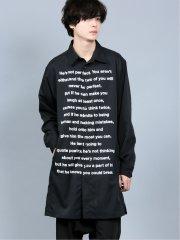 シェラック/SHELLAC ロゴプリント 長袖ロングシャツ
