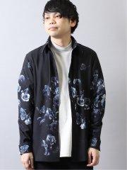 シェラック/SHELLAC ローズ&バタフライプリント 長袖シャツ