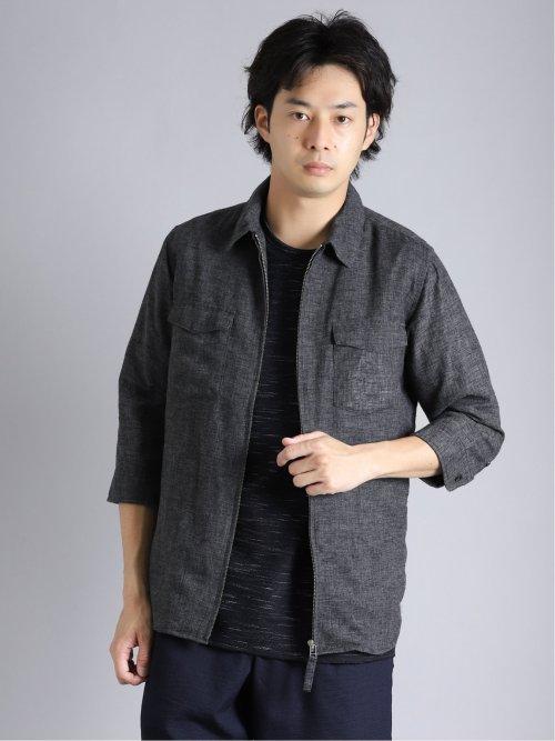 麻混 7分袖ZIPシャツアウター