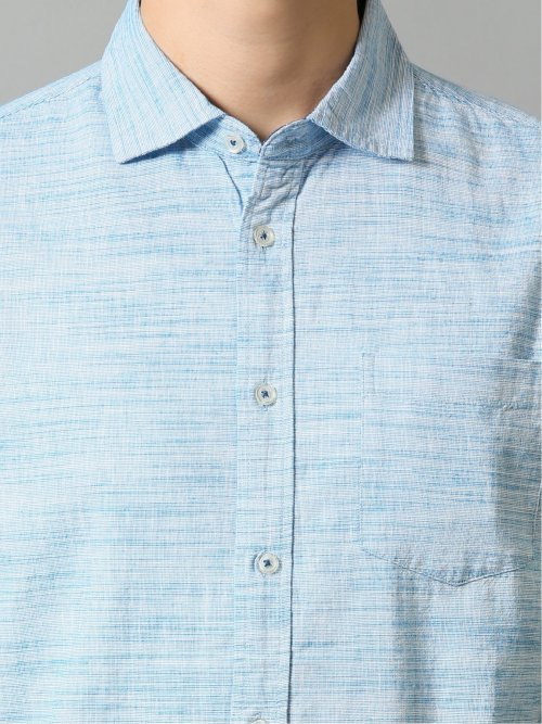 綿麻 カッタウェイ半袖シャツ