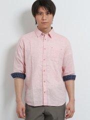 綿麻ハケメ レギュラーカラー7分袖シャツ
