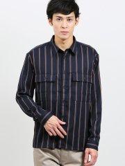 オーバーサイズ ストライプ柄レギュラーカラー長袖シャツ