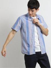 ストライプ柄切替レギュラーカラー半袖シャツ
