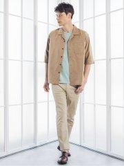 麻調ストレッチ セットアップ 7分袖BIGシャツ