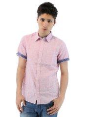 麻混レギュラーカラー半袖シャツ