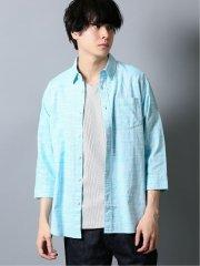 綿麻 ハケメ レギュラーカラー7分袖シャツ