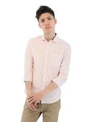 麻混ライトカラー張替ホリゾンタルカラー7分袖シャツ