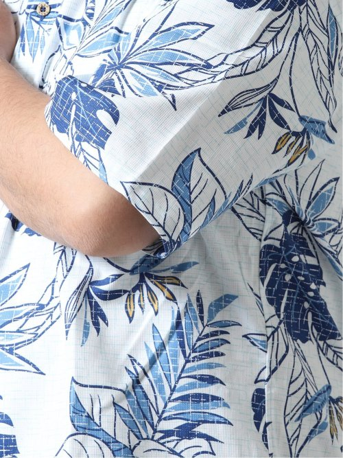 【大きいサイズ】グランバック/GRAND-BACK かりゆし花柄半袖シャツ