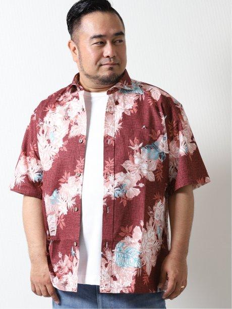 【大きいサイズ】グランバック/GRAND-BACK かりゆしバイヤス花柄半袖シャツ