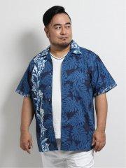 【大きいサイズ】グランバック/GRAND-BACK かりゆし月桃混縦柄パネルプリント半袖シャツ