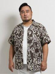 【大きいサイズ】グランバック/GRAND-BACK かりゆし月桃混縦柄トライバル総柄半袖シャツ