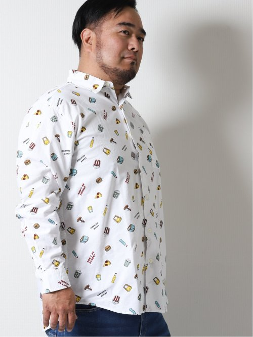 【大きいサイズ】グランバック/GRAND-BACK 綿オックス レギュラーカラー長袖シャツ