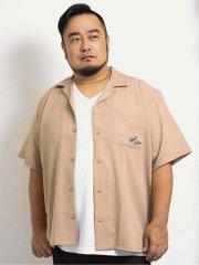 【大きいサイズ】グランバック/GRAND-BACK エステルバック刺繍 オープンカラー半袖シャツ