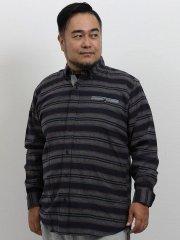 【大きいサイズ】グランバック/GRAND-BACK ネルボーダー ボタンダウン長袖シャツ