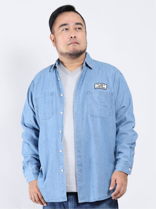 【大きいサイズ】グランバック/GRAND-BACK 綿ツイル レギュラーカラー長袖シャツ
