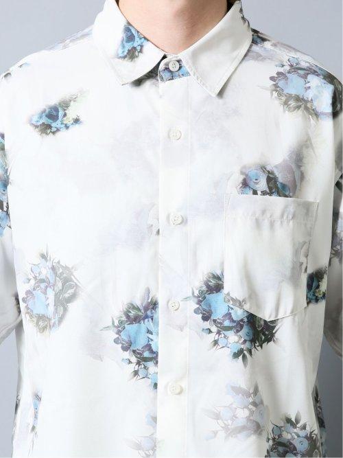 エステルストレッチ フラワープリント7分袖シャツ